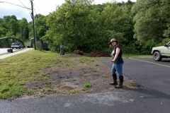 Herbalist and garden designer Kelley Edkins before planting Margaretville Bridge Street site