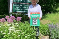 Barbara Hagstrom helped install a pollinator garden at the Route 28 entrance sign to Pine Hill